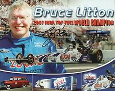 BRUCE LITTON Signed 10x8 Photo Card TOP DRAGSTER Quick 8 Champion IHRA COA