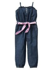 Baby GAP Chambray Denim Belted Romper One Piece Outfit Color Pop 12 18 mo NWT
