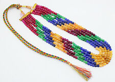 FINEST QUALITY 399.00 CTS NATURAL 5 LINE RUBY, EMERALD & SAPPHIRE BEADS NECKLACE