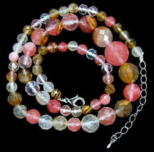 """6-14mm Faceted Multi-Color Watermelon Tourmaline Round Beads Gems Necklace 18"""""""