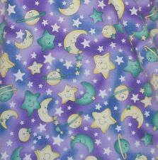 Nurse Scrub Stars Crescent Moons Size Small Crest Cottons V-Neck Purple Uniform