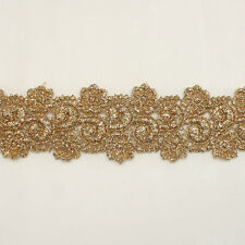 "1.50"" Rayon Embroidery Scalloped Lace Trim Metallic Bridal wedding Flower lace"
