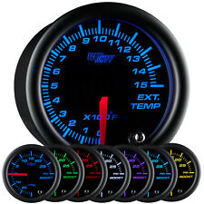 52mm GlowShift Black 7 Color 1500 F Pyrometer EGT Gauge - GS-C708-1500