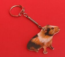 Guinea Pig Collectable Wooden Keyring Pet Vet Son Daughter Christmas Gift NEW