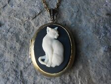 KITTY CAT CAMEO LOCKET (CREAM - BLACK) - BRONZE - CAT LOVER