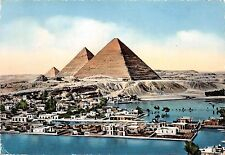 B91135 the pyramids and mena village during the flood egypt