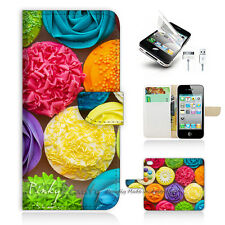 iPhone 5 5S Print Flip Wallet Case Cover! Cup Cake Flower P1417