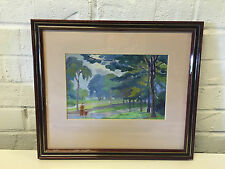 Possibly Vintage Oil Painting 2 Figures in Landscape w/ Trees