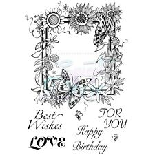 Sweet Dixie Clear Stamps Floral Border birthday love butterfly valentine craft