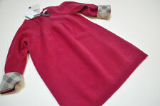 Burberry Children Logo Nova Check Burgundy 100% Cashmere Sweater Dress Size 9 M