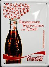 """Coca Cola, Werbeschild, Blechschild """"Erfrischende Weihnachten mit Coke&quot"""