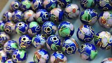 120+ Vintage Cloisonne 10mm Round Beads—Navy with Pink and Green Floral Accent