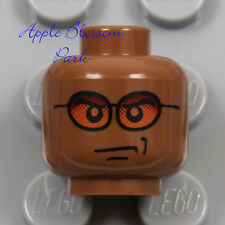 NEW Lego Dark FLESH MINIFIG HEAD - Light Reddish Brown Orange Sun Glasses Smile
