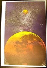 """Peter Max """"Outer Space"""" Moon & Earth 1969 Psychedelic Art Poster - Near Mint"""