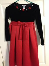 Girls Red & Black Youngland Dress Size 10 Christmas Holiday Dressy Roses Jewels