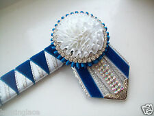 """13"""" Blue White & Silver Show Browband  ** JMA SHOW BROWBANDS **"""