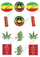 MARIJUANA SMOKING PACK 12 STAND UP Edible Image Cake Toppers celebration party