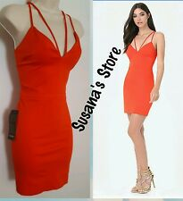 NWT BEBE Double Strap  Deep  V DRESS SIZE L Be queen of the scene.