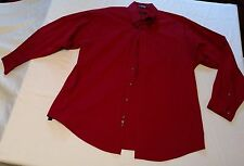 Men's GEORGE Dress Shirt WRINKLE FREE Pinpoint OXFORD Dark Brick Red 17 34 / 35