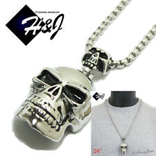 """24""""MEN's Stainless Steel 5mm Silver Box Link Chain Necklace SKULL Pendant*P44"""