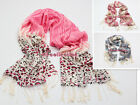 100% Wool Pashmina Long SCARF SHAWL Leopard Chain Multi Gradual More Colors WL22