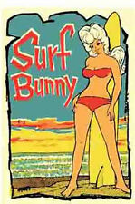 """Surf Bunny""  California    Vintage 1960's-Style  Travel/Surfing  Sticker/Decal"
