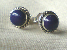 STERLING SILVER 7mm.STUD EARRINGS with SEMI-PRECIOUS LAPIS STONES £8.50 NWT