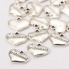 4 x TIBETAN SILVER RHINESTONE BRIDESMAID HEART CHARMS PENDANTS 16mm X 14mm