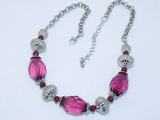 Vtg.  Purple Amethyst  stone and Simulated Sterling  Necklace  ''STUNNING''