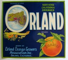 Rare 1940s Orland Project East Park Dam Sunkist Orange Crate Label