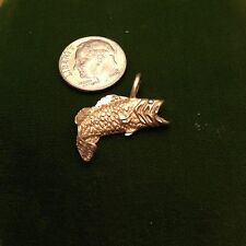 14K Yellow Gold Bass Charm Pendant Michael Anthony  Fish Nautical Beach Charms