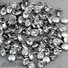 100 Sets 8mm Crystals Rivets Rapid Silver Nailhead Spots DIY Punk Leather Craft