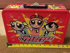 RARE Vintage 2000 Powerpuff Girls Large Tin Case. Collectible. Cartoon Network.