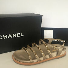 CHANEL 15P Beige Strappy Satin Flat Sandals w/Chain Embellished Shoes 38.5 $1150