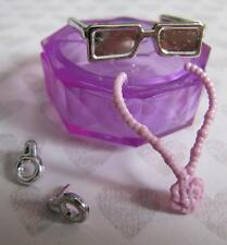 Fashion Doll Jewelry Bratz Moxie Liv Monster High~Earring Pink Necklace Sunglass