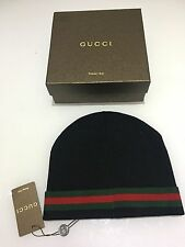 New Authentic men's black red green GUCCI beanie hat