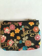Japanese Style Floral Card Makeup Coin Key Zip Bag Wallet Purse Pouch