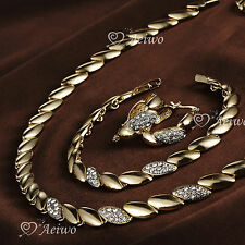 18K GF YELLOW GOLD SWAROVSKI CRYSTAL BRACELET NECKLACE HOOP EARRINGS SET