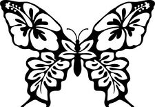 Butterfly Hibiscus Flower Vinyl Graphic Decal Car Window Sticker Funny