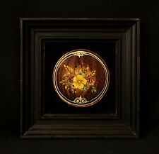 Decorative Vintage Art,  Enamel Hand Painting on a Metal Thin, Picture Framed
