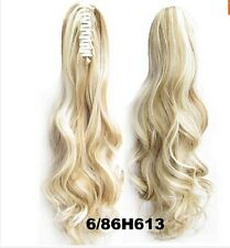 Claw PONYTAIL Clip In On Hair Extensions Style Synthetic #6/86H613 Ombre Blonde
