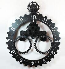 Black color Modern Contemporary Mechanical Gear Wall Clock with Calendar Wheel