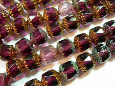 20 Amethyst Purple Mix Cathedral Czech Glass 10mm beads