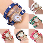 New Fashion Cute Ladies Girls Crystal Bracelet Leather Quartz Wrist Watch Gift
