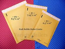 12 KRAFT BUBBLE POSTAL MAILING PADDED ENVELOPE VARIETY ~ SIZES #2  #1  #0 ~ USA