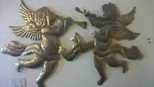 Pair of Brass Angels with Horn & Violin Wall Hangings Wall Art
