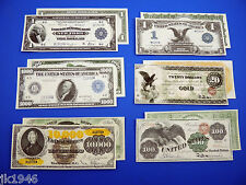 "Starter Set Number 3 ""EAGLES"" - 6 Replica U.S. Currency Paper Money Copy"