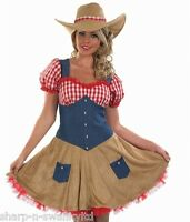 Ladies Sexy Cowgirl Cowboy Wild West Fancy Dress Costume Outfit 8-26 Plus Size