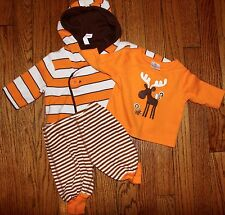 NWOT HANNA ANDERSSON 3 Pc Outfit Reversible Sweater Coat Top Pants 0-3 Months 50