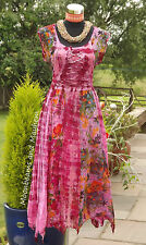 STUNNING NEW PINK DRESS SIZE UK 10 12 HIPPIE FESTIVAL BOHO TIE DYE SKIRT FAIRY